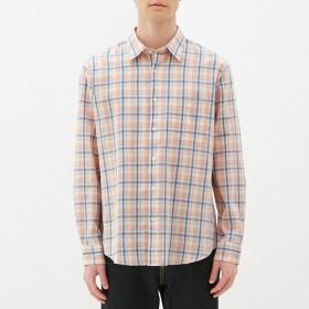 (GU)リネンブレンドシャツ(長袖)(チェック) PINK S