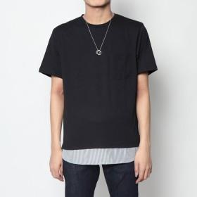 スタイルブロック STYLEBLOCK フェイクレイヤードネックレス付ビッグTシャツ (ブラック)