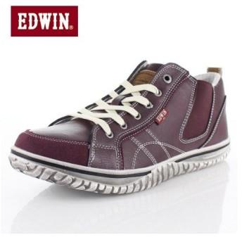 EDWIN エドウィン EDW-7539 BURGUNDY メンズ スニーカー カジュアル 軽量 カップインソール ミッドカット サイドゴア レッド