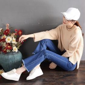 ★韓国ファッション 4カラー★フィット感がきれい デニムパンツ 美脚パンツ ジーンズ ブーツカット おしゃれなシルエットのファッションコーデー提案!デイリーパンツ 9分丈 切り 大きいサイズ ダメージ