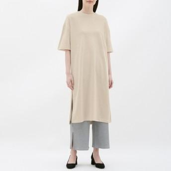 (GU)スリットTワンピース(5分袖) BEIGE XL