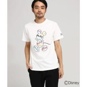 BASE STATION / ベースステーション 【WEB限定】 DISNEY ディズニー Tシャツ 筆記体ロゴ 半袖Tシャツ (ミッキーマウス)