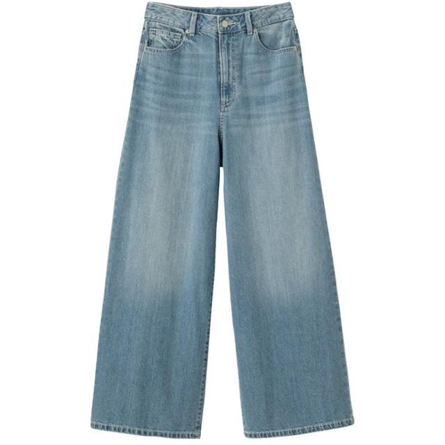 (GU)ハイウエストスーパーワイドジーンズ BLUE S