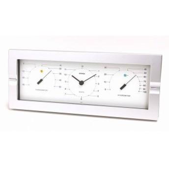 温度計 湿度計 時計 セレニティ おしゃれ インテリア シルバーフレーム 壁掛け 置き兼用 アナログ 日本製