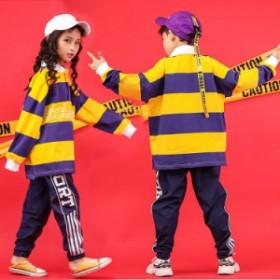 キッズ ダンス衣装 ヒップホップ 長袖 ズボン ストライプ 子供 サルエルパンツ 体操服 ステージ衣装 舞台装 練習着