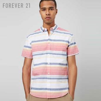 FOREVER21 フォーエバー21 【[MEN]ボーダーコットンシャツ】(5,000円以上購入で送料無料)