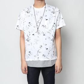 スタイルブロック STYLEBLOCK 総柄異素材フェイクレイヤードネックレス付ビッグTシャツ (ホワイト)