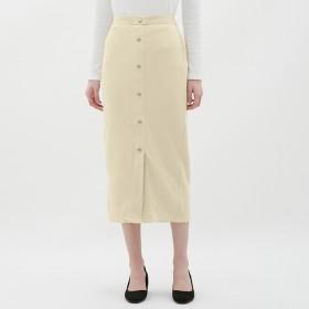 (GU)リブフロントボタンナローミディスカート NATURAL XXL