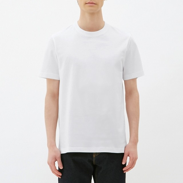 (GU)クルーネックT(半袖) WHITE M