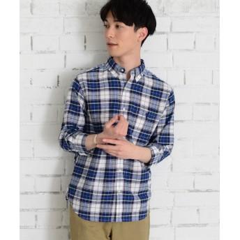 【50%OFF】 コーエン 綿麻7分袖チェックシャツ メンズ NAVY SMALL 【coen】 【セール開催中】