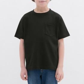 (GU)ヘビーウェイトクルーネックT(半袖) BLACK 150