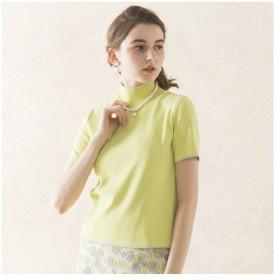Liliane Burty ECLAT / リリアンビューティ エクラ 無地のハイゲージニットで編み上げた半袖ハイネックセーター
