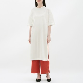 (GU)スリットTワンピース(5分袖) OFF WHITE L