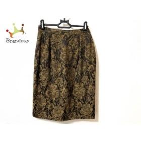 レリアン Leilian スカート サイズ11 M レディース 美品 ダークブラウン×黒 花柄   スペシャル特価 20190605