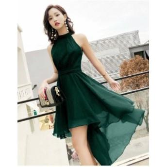 パーティドレス ワンピース アシンメトリー フィッシュテール セクシー ホルターネック 上品 韓国 ファッション レディース オルチャン