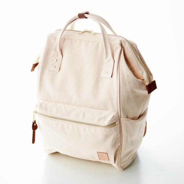 """バッグ カバン 鞄 レディース リュック ミニラボ キャンバス素材のがま口デザインリュック""""刺繍のようなお花畑"""" カラー 「生成り」"""