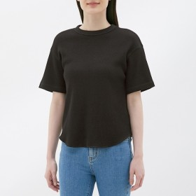 (GU)ワッフルT(半袖) BLACK L