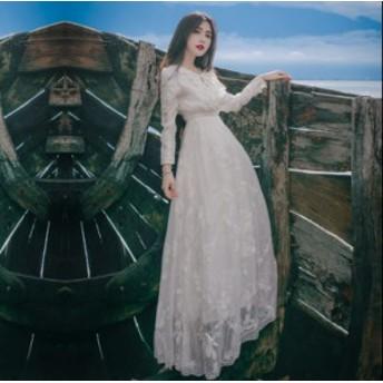 マキシ丈ワンピース 二次会 結婚式ドレス レース リゾートワンピース お呼ばれ 服 体型カバー カジュアル 旅行・海デート・リゾート