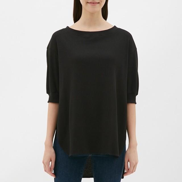 (GU)ワッフルオーバーサイズT(5分袖) BLACK S
