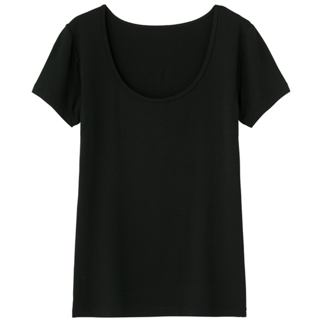 (GU)GUドライヒンヤリUネックT(半袖)(汗取パッド付) BLACK L