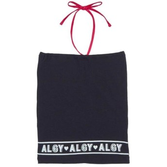 アルジー 裾ロゴパット付きベアトップ レディース ブラック S 【ALGY】