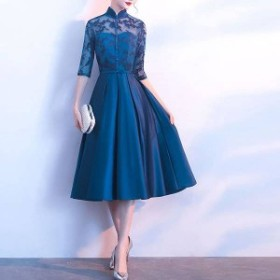 ボタニカル 刺繍 チャイナドレス パーティドレス 披露宴 結婚式 お呼ばれ オシャレ 光沢 青 ブルー 韓国 オルチャン フォーマル
