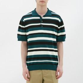 (GU)マルチボーダーニットポロシャツ(半袖) DARK GREEN XS