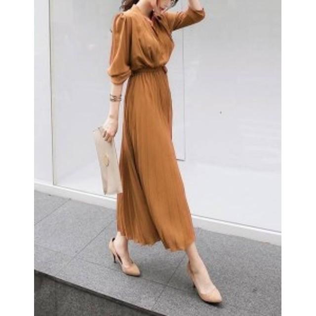 オルチャン 韓国 ファッション ワンピース 大きいサイズ ロング プリーツ ハイウエスト 五分袖 きれいめ フォーマル 通勤 大人可愛い