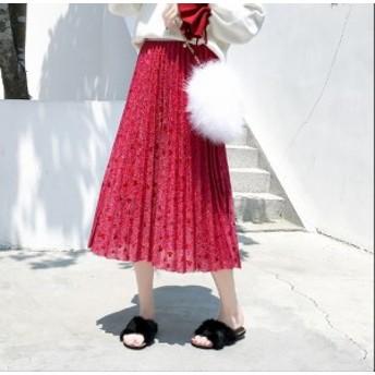 プリーツスカート ロング 大きいサイズ ロングスカート プリーツ マキシ丈 レッド 赤 ブラック 黒 スパンコール 上品 きれいめ