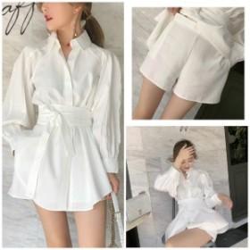 【セットアップ】ベルト付き ホワイト シャツ + ショートパンツ tyk-00433