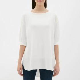 (GU)ワッフルオーバーサイズT(5分袖) OFF WHITE L