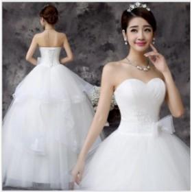 ベアトップ パーティドレス チュール 優雅 袖なし ウェディングドレス フェミニン 二次会 結婚式 撮影 ファション 編み上げ
