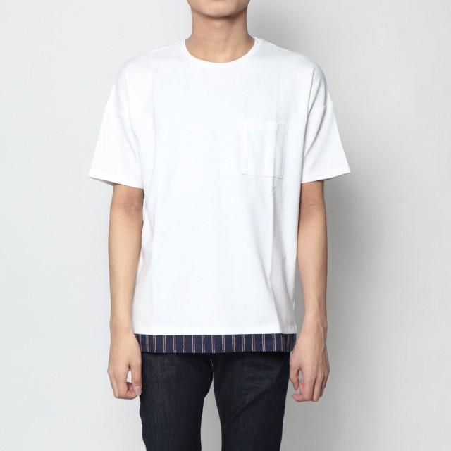 コムサイズム COMME CA ISM 裾ストライプ ポンチTシャツ (ホワイト)