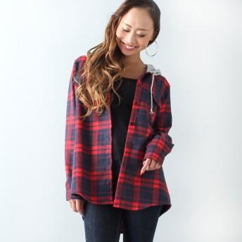 ジュノア JUNOAH レイヤード風フード付きチェックシャツ (レッド)