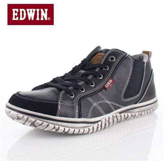 EDWIN エドウィン EDW-7539 BLACK メンズ スニーカー カジュアル 軽量 カップインソール ミッドカット サイドゴア ブラック
