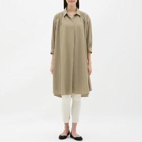 (GU)Aラインシャツワンピース(7分袖) BEIGE XL