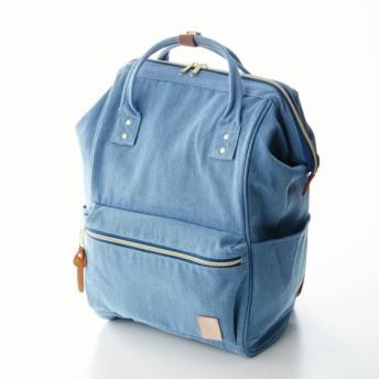 """バッグ カバン 鞄 レディース リュック ミニラボ キャンバス素材のがま口デザインリュック""""刺繍のようなお花畑"""" カラー 「デニムブルー」"""