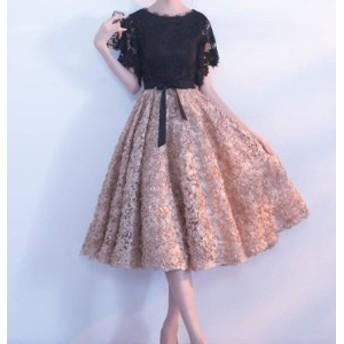 オルチャン 韓国 ファッション パーティードレス ワンピース 花柄 シースルー 総レース 袖あり お呼ばれ 結婚式 二次会 披露宴