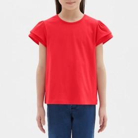 (GU)GIRLSフリルT(半袖) RED 140