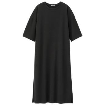 (GU)スリットTワンピース(5分袖) BLACK XL