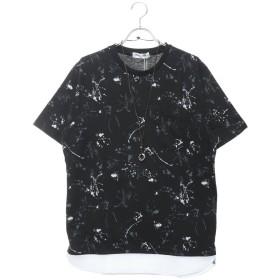 スタイルブロック STYLEBLOCK 総柄異素材フェイクレイヤードネックレス付ビッグTシャツ (ブラック)