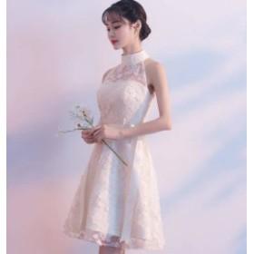 大きいサイズ パーティードレス ホルターネック 透け感 レース シースルー Aライン ひざ上 お呼ばれ 二次会 結婚式 韓国 オルチャン