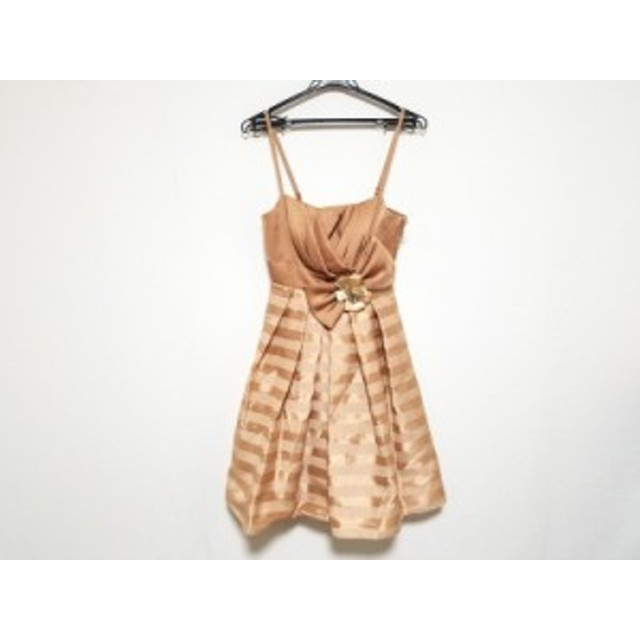 72085f0f92998 エメ aimer ドレス サイズ9 M レディース 美品 ライトブラウン ビジュー リボン 中古