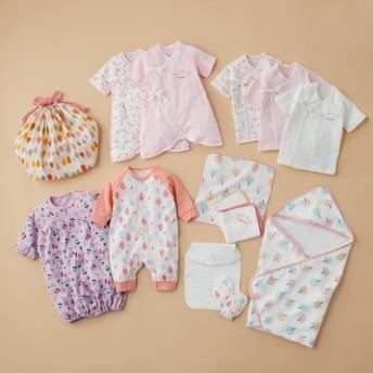 ベビー服 ツーウェイドレス 新生児肌着女児用14点セット カラー 「ピンク」