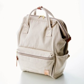 """バッグ カバン 鞄 レディース リュック ミニラボ キャンバス素材のがま口デザインリュック""""刺繍のようなお花畑"""" カラー 「グレージュ」"""