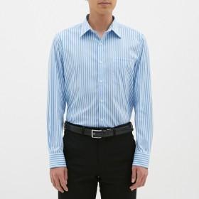 (GU)ストレッチブロードシャツ(長袖)(ストライプ)CL BLUE M