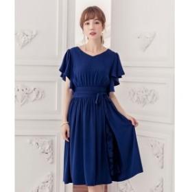 ドレススター(DRESS STAR)/ウエストリボン付き巻きスカート風デザインフレアスリーブギャザーワンピース