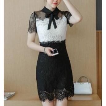 オルチャン 韓国 ファッション ワンピース ドレス 総レース ミニ丈 透け感 レース シースルー リボン 襟付き 袖あり セクシー パーティー
