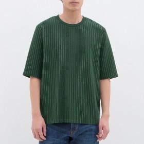 (GU)ポンチクルーネックT(5分袖)(ストライプ) DARK GREEN S