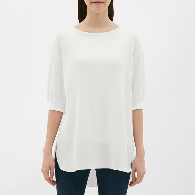 (GU)ワッフルオーバーサイズT(5分袖) OFF WHITE XL